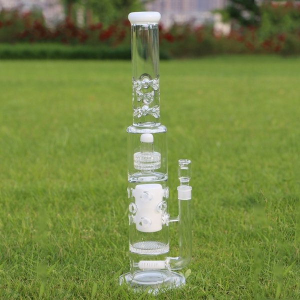 """20.5"""" Big Glass Bong For Strong Men 7mm Thickness Glass White Four Perc Parts Glass dab oil rig bongs"""