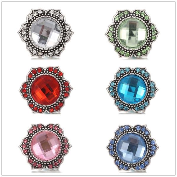 20 unids / lote Crystal noosa trozo 18 mm encaje botón encanto antiguo de plata Retro Metal joyería rhinestone Ginger Snap fit pulsera collar