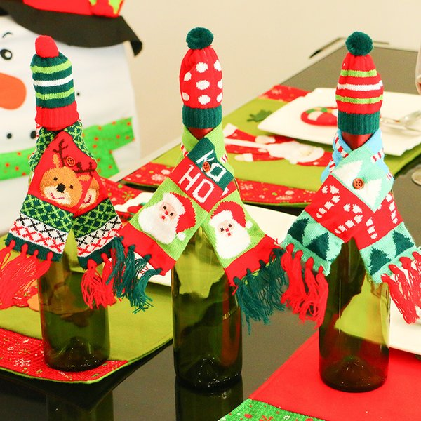 Рождественская елка Санта-Клаус и лось шаблон бутылка красного вина шампанского бутылки декоративный шарф и шляпа вязать кисточкой набор