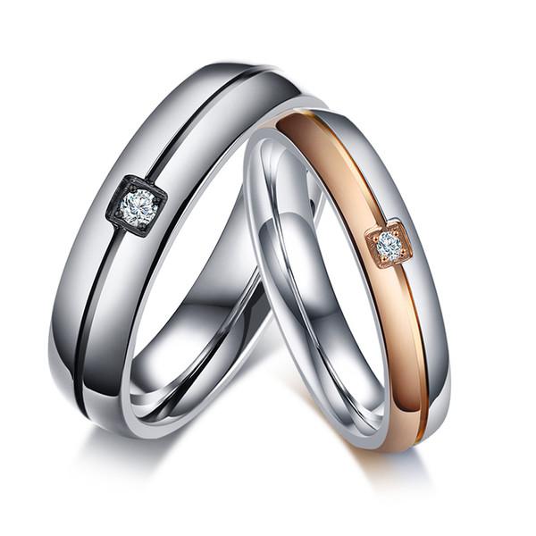 Kostenlose Gravur 2 Tone Edelstahl Ring Kristall Zirkonia Stein Intarsien Band Paar Schmuck für Valentinstag Hochzeit Engagement