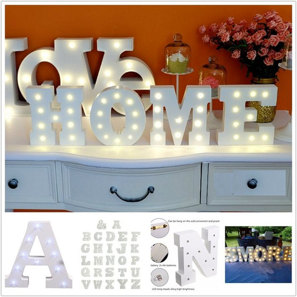 1pcs White Wooden Letter LED Marquee Sign Alphabet Light Indoor Wall Light Up Night Light Wedding Event Decoration Gifts