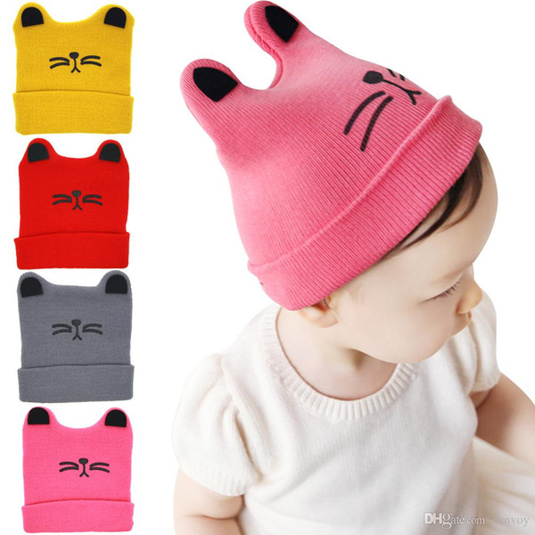 Baby Girls Woolen Yarn Hats Unisex Baby Autumn Winter Cotton Beanies Infant Kids Soft Kitty Face Hedging Caps Earflaps 4 Colors BH19