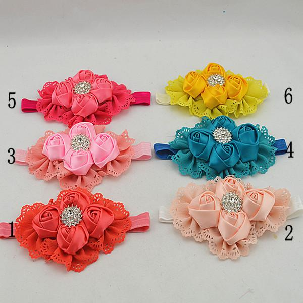 12pcs headband strap of the Satin Pink beautiful Flower soft elastic hairband the hair holder diadems for women HD081