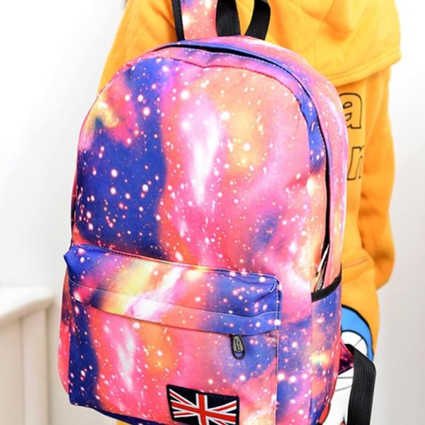 Wholesale- Fashion Unisex Stars Universe Space Printing Backpack School Book Backpacks British-flag Shoulder Bag