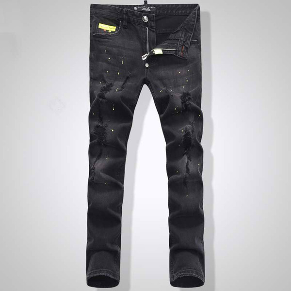 Fashion Euro Fashion Men Black Stretch Jeans Tidy Biker Denim Jean Paint Spot Damage Slim Fit Distressed Cowboy Pants Man Yellow Metal Patch