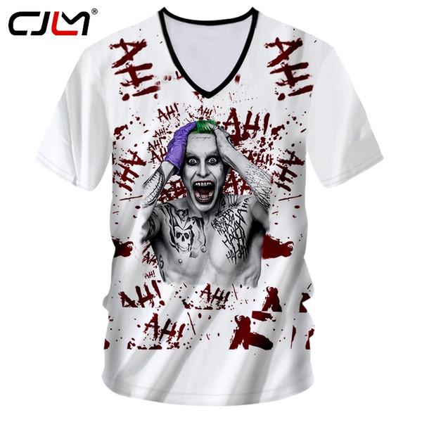 CJLM New Arrival Mens Funny Print Clown Joker 3d Tshirt Man Hiphop Short Sleeve V Neck T-shirt Male Fit Slim Fintess Casual Tees