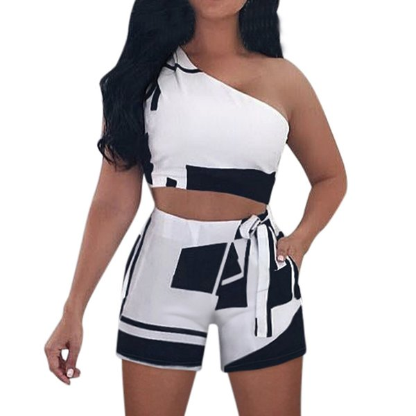 2 Piece Set Women Sexy Crop Top And Shorts Two Piece Outfits Women For Summer Print One Shoulder Tank Short Set