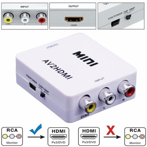 Mini AV HDMI Converter Kompozit AV RCA HDMI Video Dönüştürücü Adaptör Full HD 720/1080 p UP Ölçekleyici AV2HDMI HDTV Standart TV için / Monitör