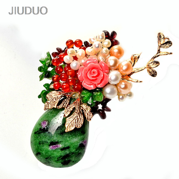JIUDUO fashion accessories with wild luxury gray pearl pendant crystal brooch corsage needle collar flower clothing women