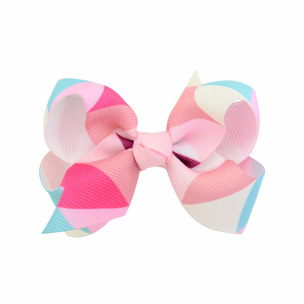 1Piece New Fashion Handmade Boutique Multi - color geometric design Hair Bow Alligator Clip Kids Girls Hair Accessories 2017
