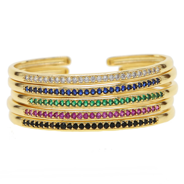 inner diamater 58-60 open adjust bangle bracelet cz paved circle band classic colorful birthstone gold plated women bracelets