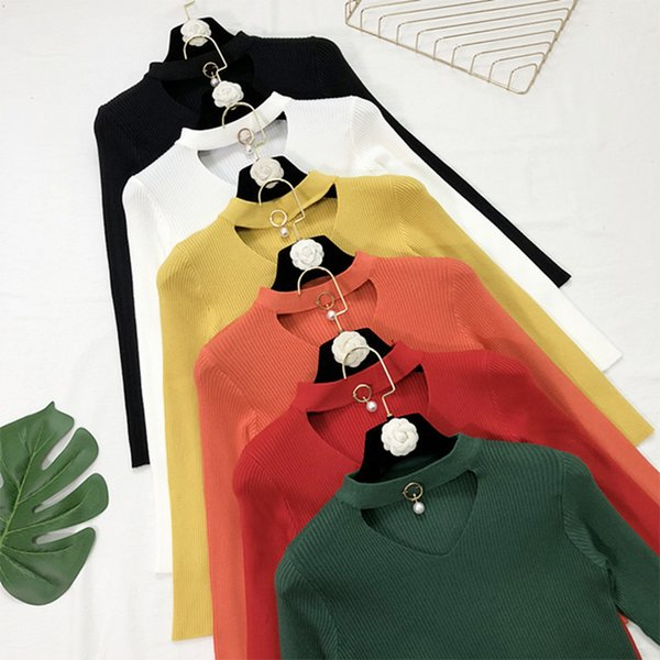 8f6220fd3475a 2018 Autumn Winter Women Sweaters and Pullovers V Neck Cashmere Sweater  Choker Pearl knitted Sweater Jumper