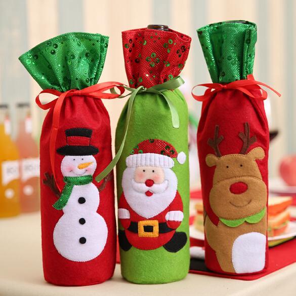 Champagne Bouteille De Vin Sacs Couvre Broderie Design Père Noël Bonhomme De Neige Cerf De Noël Décoration Bouteille Couverture Vêtements Cuisine Décoration