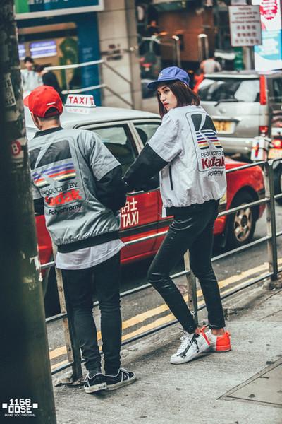 Jacket Windbreaker Fashion Men Jacket Hip Hop Zipper Long Sleeve Cotton Blend Stand Collar Pocket Letter Print White Gray Size M-3XL