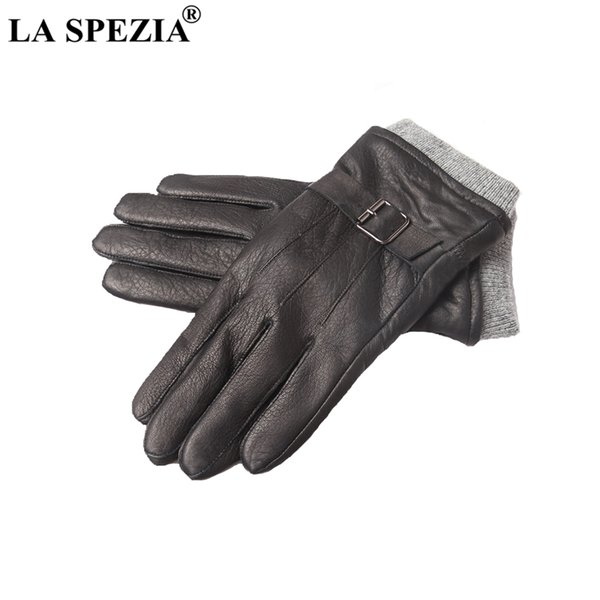 LA SPEZIA Men Gloves Real Suede Leather Fleece Thick Black Driving Biker Gloves Male High Quality Natural Leather Winter Mittens