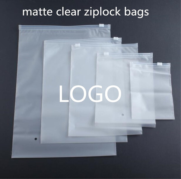 500pcs Custom Logo Matte Zip lock Bags Clothe Storage Bag Valve Slide Seal Packing Pouch For Cosmetic Clothing Travel Packing