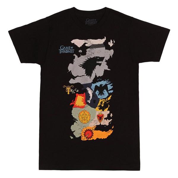 Authentische SPIEL DER THRONEN HBO Karte von Häuser T-Shirt S-3XL NEUE Gedruckte Sommer Stil T-stücke Männlichen Top Fitness Marke Kleidung