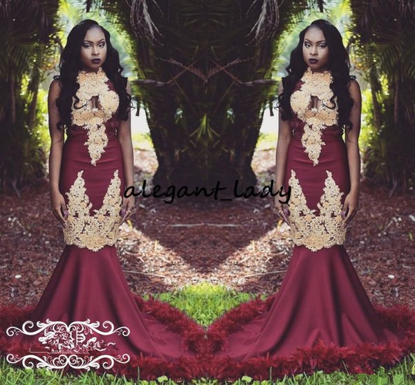 Fabulous Feather Mermaid Prom Dresses 2018 Luxury Gold Lace Applique High Neck Sexy African Trumpet Occasion Evening Wear Gown