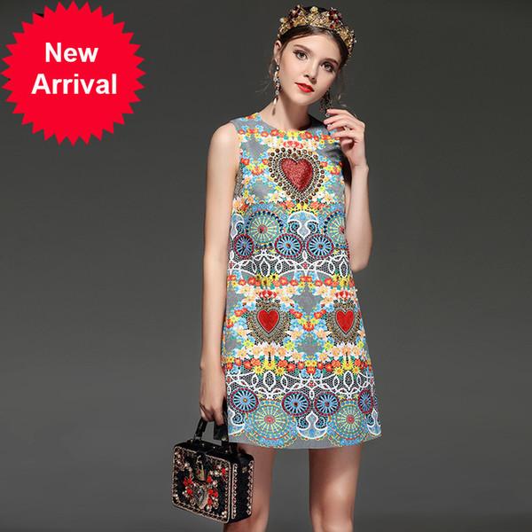 New 2018 Fashion Runway Summer Dress Women's Sleeveless Floral Printed Crystal Beading Vintage Retro Dress