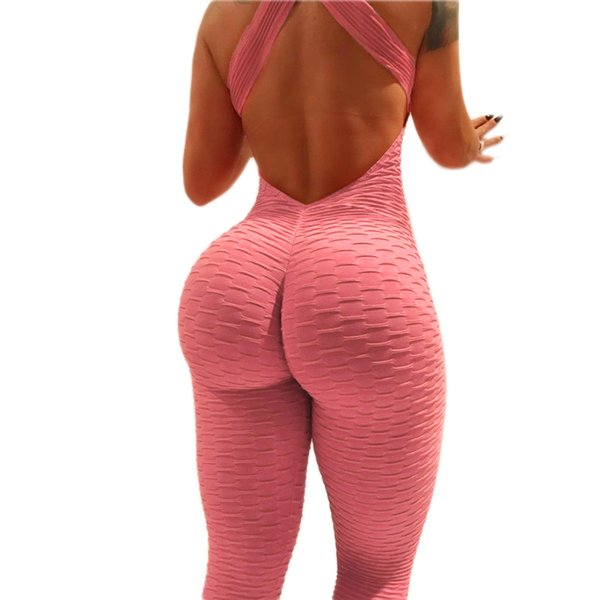 Yoga Jumpsuit Sportwear For Women Hip Push Up Fitness Sport Suit Yoga Gym Running Set Mujer Sport Clothing Backless Tracksuit