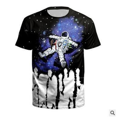 Mode Astronaut Print T-shirt New York City Trend Hip Hop 3D Digitaldruck T-shirt Männer Lose kurzärmeliges T-shirt