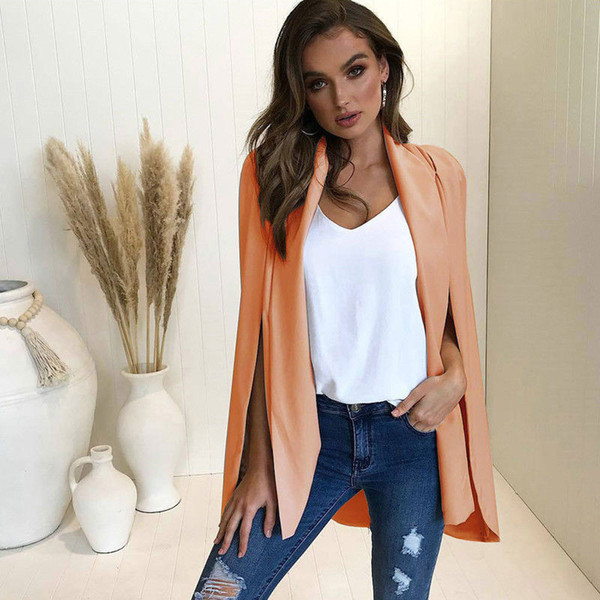 Trendy Women Lady Long Sleeve Lapel Split Cape Tops Polyester solid casual cardigan Trench one pieces