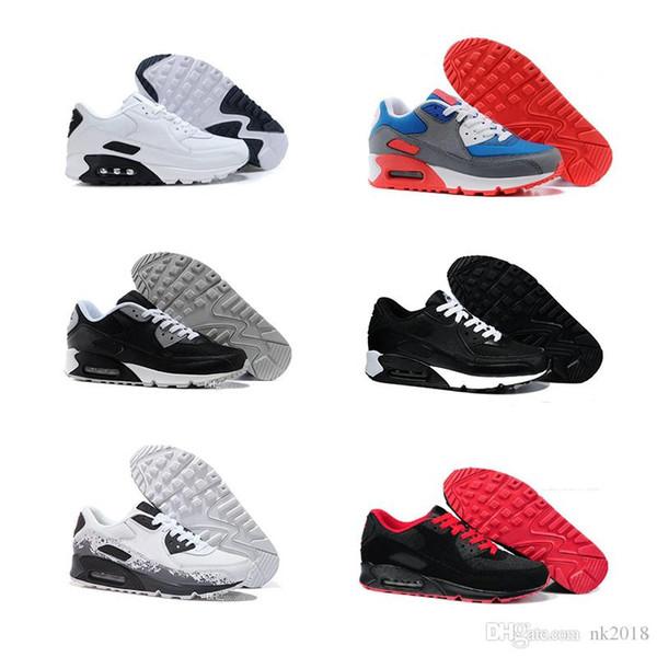 Großhandel Nike Air Max Herren Turnschuhe Schuhe Klassische 90 Männer Und Frauen Laufschuhe Schwarz Rot Weiß Sport Trainer Luftpolster Oberfläche