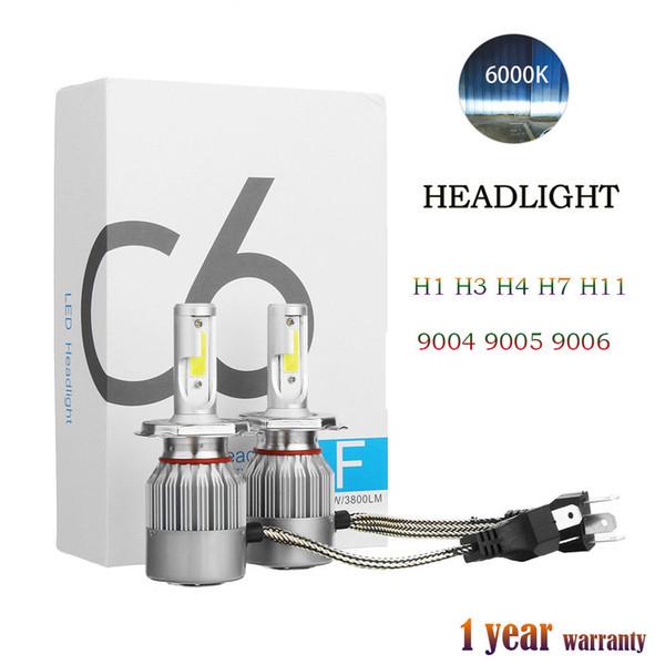 best selling 1Pair COB C6 Real 7600LM 120W LED Car Headlight H1 H3 H4 H7 9003 9004 9005 9006 Kit Hi Lo Light Bulbs 6000K