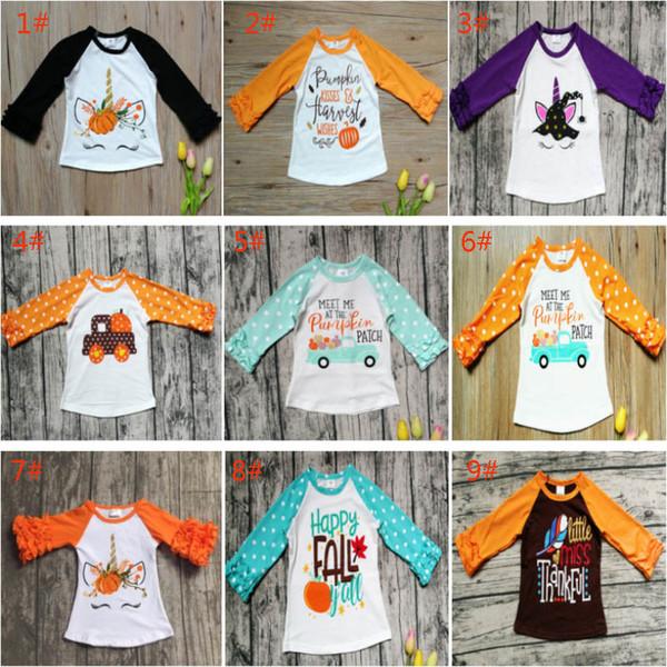 Cadılar bayramı Çocuk Kız Polka Dot Fırfır Üst T-Shirt Çocuk Baskı Kabak Pamuk Tees Giyim Uzun Kollu Gömlek Giysi WX9-980