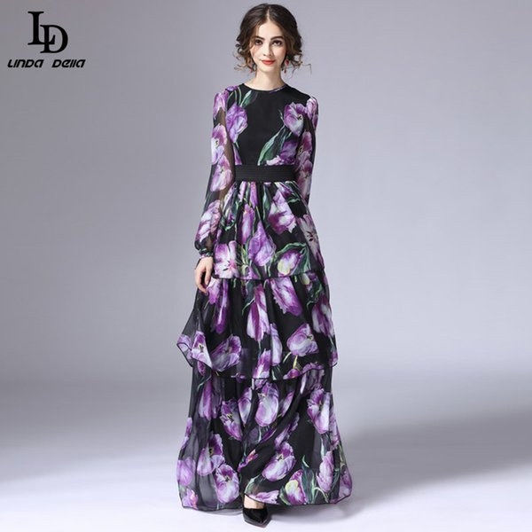 3dcabe51727 LD LINDA DELLA New Fashion 2016 Runway Maxi Dress Women s Long Sleeve  Vintage Tiered Tulip Floral