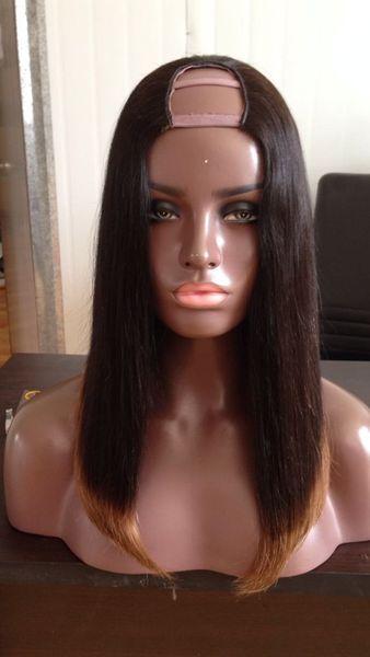 Bob Wig Ombre T1B/30# 1X3/2X4/4X4 Human Hair U Part Wigs Striaght U Part Human Hair Wig Middle Part/left Part/ Right Part For Black Women