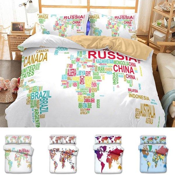 6styles US AU Size 3pcs Luxury Bedding Set Duvet World Map Printed Bed Cover Set King Sizes Duvet Cover Bedding Set T6I26