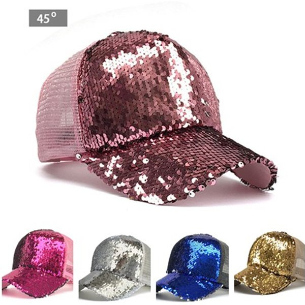 Mermaid Sequins Baseball Hat Women Girls Glitter Summer Ball Cap visor Shiny Ponytail Snapback Caps Fashion Trend Sunhat Sports Caps