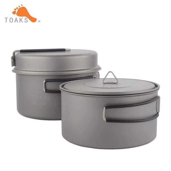 Toaks Cookware Set Portable Titanium Cookware Three -Piece Outdoor Camping Hiking Pots 1300ml +900ml Frying Pan
