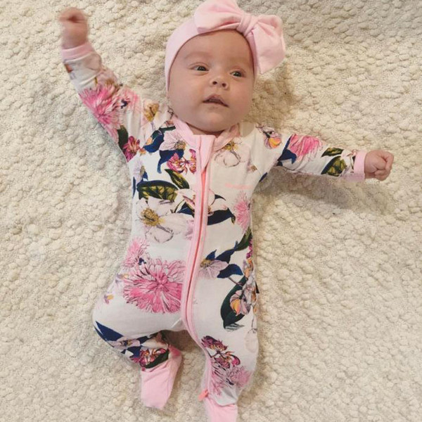 Ins Infant Baby Boys Girls Florals Tigers Rompers Kids Long Sleeve Cotton Onesies Overalls Toddlers Climb Clothes Child Babies Rompers 14075