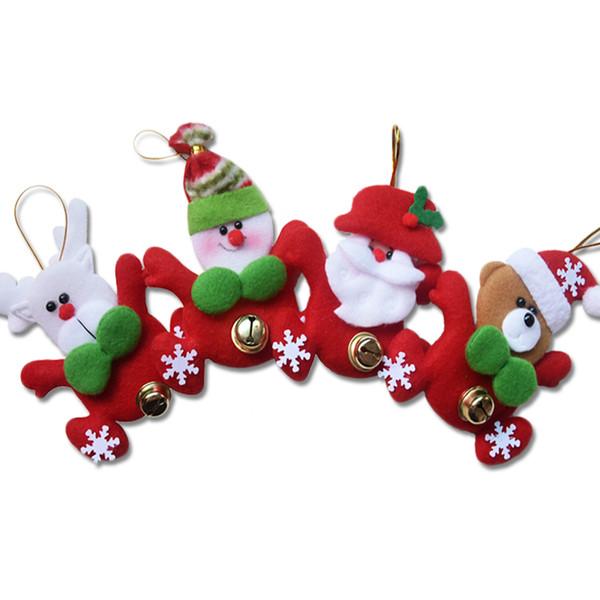 4pcs/lot Christmas Tree Hanging Ornaments Xmas Festival Santa Snowman Elk Bear Pendants Gifts Baubles for Home Decoration DS289 Y18102609