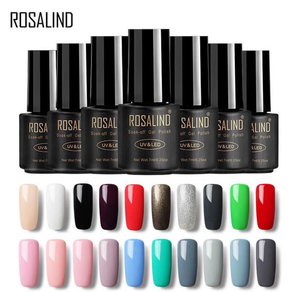 ROSALIND 7ML Gel Varnish 01-58 Pure Color UV Gel Nail Polish Primer For Nails Art Design Soak White Off Gel For Nail Extensions