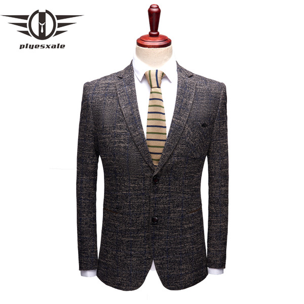 Plyesxale 2018 Autumn Office Dress Blazers For Men Two Button Casual Blazer Men Slim Fit High Quality Male Blazer Jacket Q149