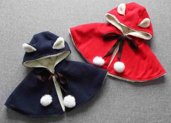 New Christmas girl children hooded poncho winter warm red blue cartoon Ear Cape coat kids christmas clothing