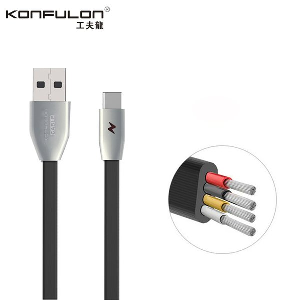 Konfulon 1 m USB Kablosu Mikro USB C Tipi Kablo Sync Şarj TPE Düz Şehriye 3A Samsung Huawei Xiaomi LG için Cep Telefonu Kabloları