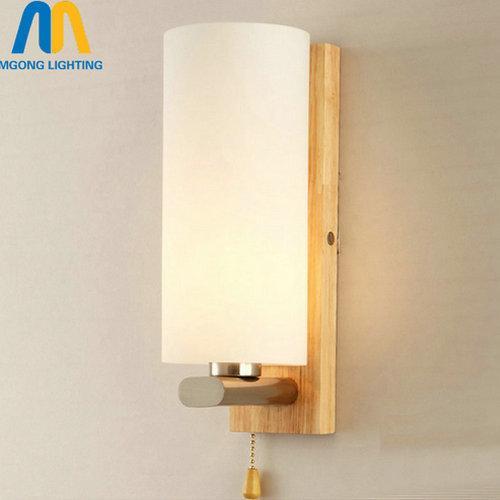 Luces de madera de la lámpara de pared de la vendimia del desván llevadas con el interruptor para el hogar moderno interior montado en la pared aplique de iluminación E27 110v-220v