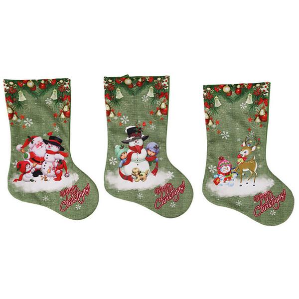 47*22cm Christmas Stockings Gift Bag Santa Claus Elk Snowman printed Green Color Socks Xmas Tree Hanging Ornaments Decoration Gift Bag New