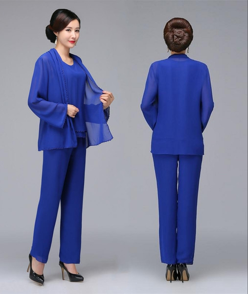 Royal Blue Beaded Mother Of The Bride Pant Suits With Jacket Chiffon Boho Mothers Outfit Formal Garment Cheap Wedding Guest Dresses HY335