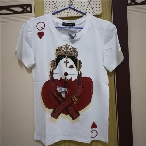 Hochwertige Poker Gedruckt Frau Königin Design T-shirt Frühling Sommer Mode 100% Baumwolle Kurzarm Frauen Neue T-Shirt