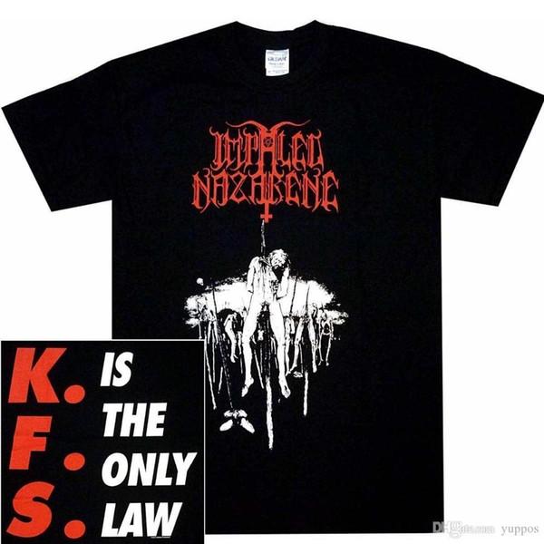 2018 Estilo Verão Camiseta Impaled Nazarene KFS Camisa M L XL Black Metal Oficial T-Shirt Tshirt NewAnime Roupas Casuais