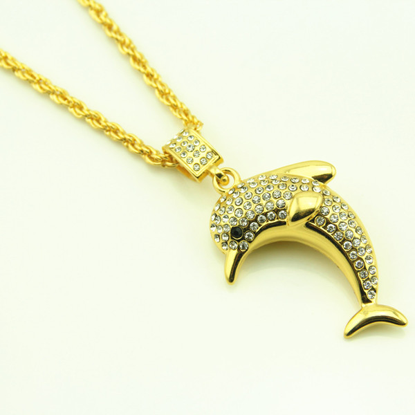 Wholesale 18K Gold Plated Bling Micro Dolphin Necklaces Men Women Iced out Charm Cartoon Chains Rapper Jewelry Gifts Pendants