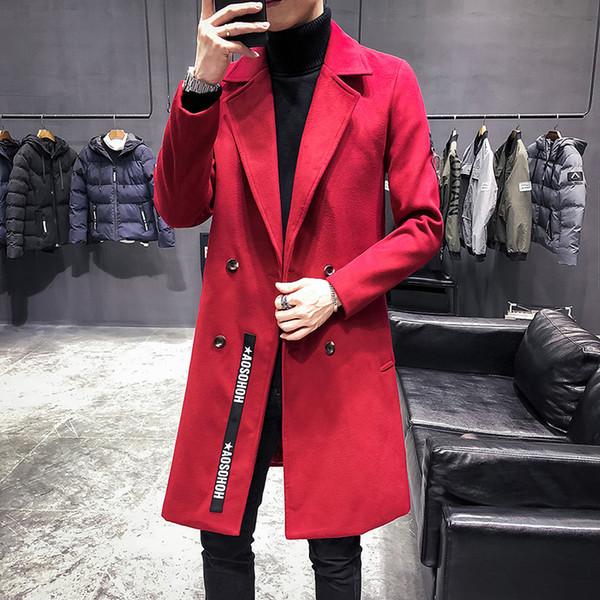 Trench Coats Mens Longo Vermelho Veste Longue Homme Britânico Jaquetas De Lã Mens Longo Do Vintage Dupla Gola Casacos Slim Fit