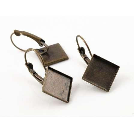 New 12mm 10pcs/Lot 4 Colors Plated Square Style French Lever Back Earrings Blank/Base,Fit 12mm Glass Cabochons