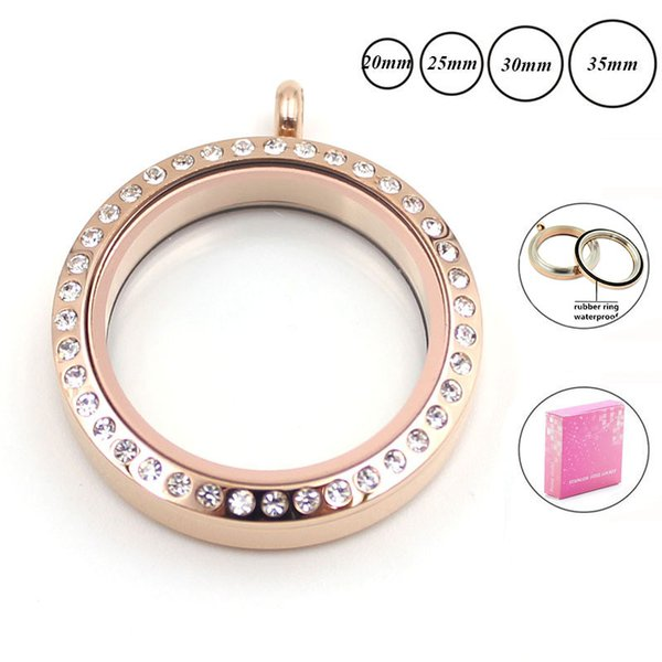 floating 20 25mm 30mm waterproof rose gold memory locket for Women 316L stainless steel twist floating locket necklace with crystals