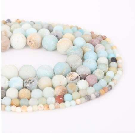 Natural Dull Polish Matte Amazon Stone Beads Round Loose Spacer Bead For Jewelry Making 4/6/8/10/12mm 15'' DIY Bracelet